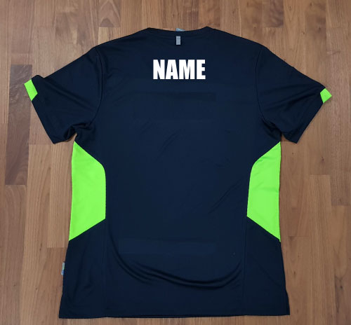 Tee with name to back