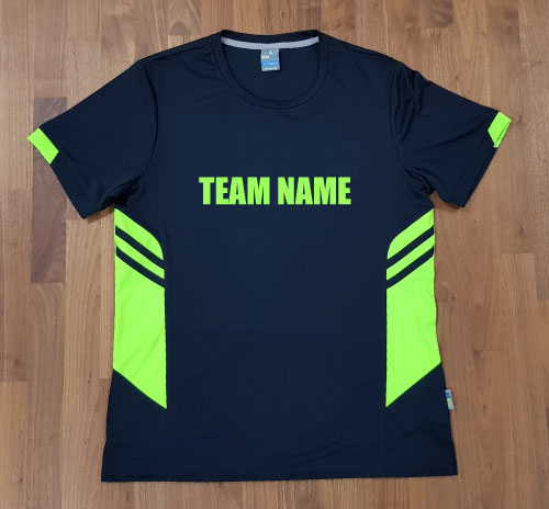 tee with team name matching colour