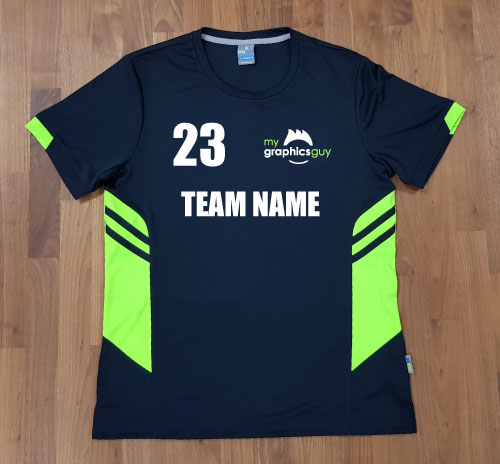 tee with logo number and team name